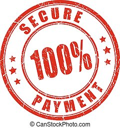 100 secure payment stamp isolated on white background