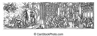 Woodcut, true and false absolution - Woodcut by Hans Holbein...