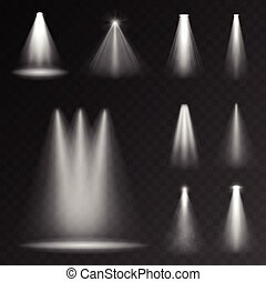 Realistic white gray glowing spotlights set for your design....