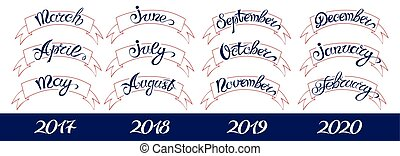 Set labels with hand-drawn lettering, months names and namber of year