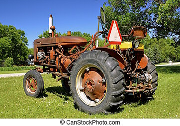 Old tractor with add-on parts