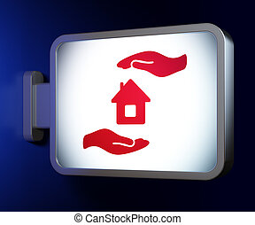Insurance concept: House And Palm on billboard background -...