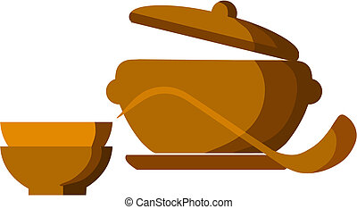brown soup pot with bowls and spoon