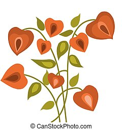 floral hearts with green leafs, vector illustration-1 - red...
