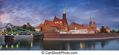 Wroclaw Panorama - Panoramic image of Wroclaw, Poland during...