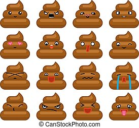 Poops Avatar Smile Emoticon Icons Set Isolated Flat Design...