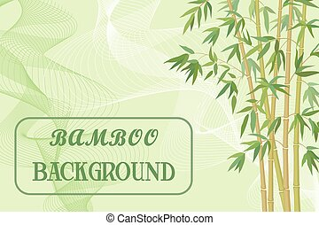 Bamboo Stems with Green Leaves on Background with Abstract...