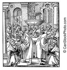 "woodcut Luther and Hus XVI century - Woodcut ""Luther und Hus..."