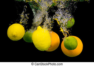 Fruit falling into the water.