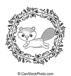 animal drawing within wreath icon vector illustration...