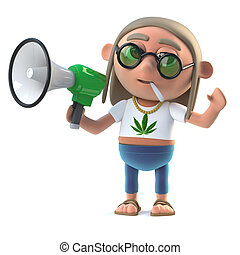 3d Hippie stoner makes an announcement with a loud hailer -...