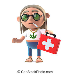 3d Hippie stoner brings medicine - 3d render of a hippy...