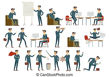 Set of six vector illustration of businessman wearing bright...