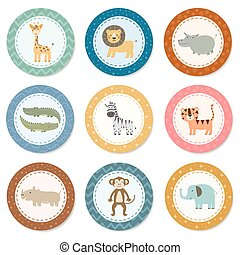 Stickers collection with cute safari animals
