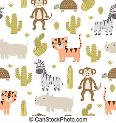 Cute safari animals seamless pattern