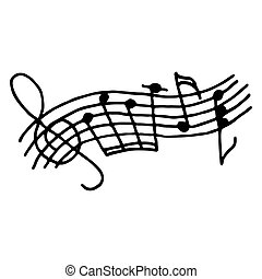 Music notes on stave. Outlined