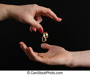 divorce - woman giving ring back to man