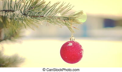 Red Christmas ball hanging on fir tree seamless loop - Red...