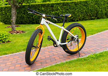 Orange modern sport bicycle parked on a footpath in a park