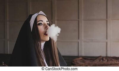 bad nun blows smoke in church - bad nun smoking a cigarette
