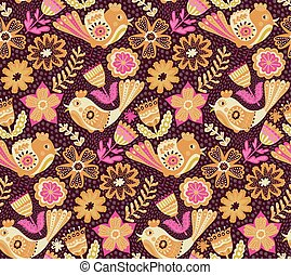 Vector flower pattern, seamless botanic texture, detailed...