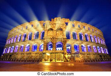 Ancient Roman Amphitheater in Pula, Croatia - The Roman...