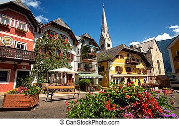 Hallstatt Village Central Square - Town square in Hallstatt,...