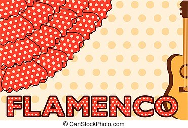 Flamenco music party card, vector illustration