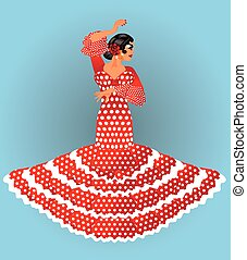 Beautiful spanish flamenco girl , vector illustration