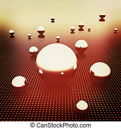 Chrome ball on light path to infinity. 3D illustration....
