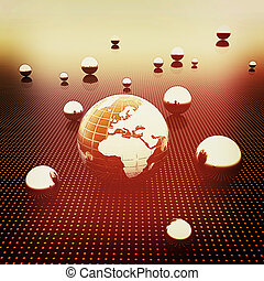 Earth and ball on light path to infinity. 3D illustration....