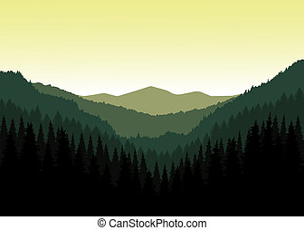 Valley(canyon). - Vector landscape. Panorama of mountains....