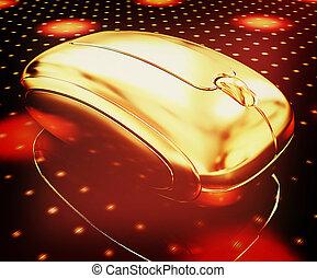 Golden mouse on a fantastic festive dark background . 3D illustration. Vintage style.