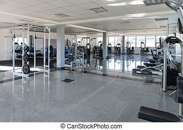 Gym With No People Interior - Equipment And Machines At The...