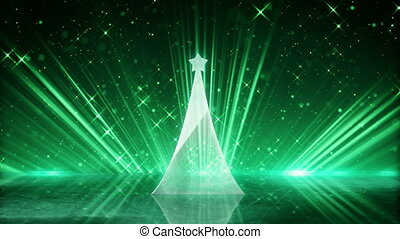 glass christmas tree and green light rays loopable animation...
