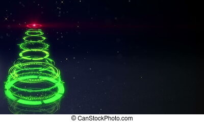 green sci-fi christmas tree loopable animation