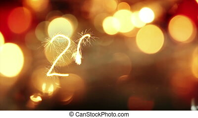 sparkler text animation new 2017 year greeting
