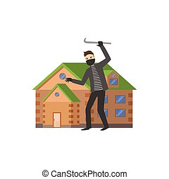 House And A Burglar Flat Vector Illustration Insurance Case...