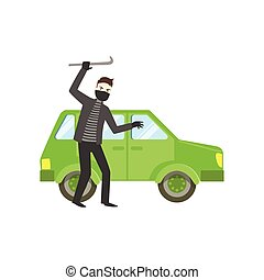 Criminal In Black Robbing The Car Flat Vector Illustration...