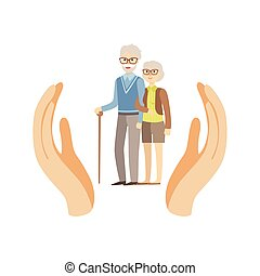 Old Couple Protected By Two Palms Flat Vector Illustration....