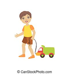 Boy Walking Dragging Toy Truck On A String - Boy Walking...