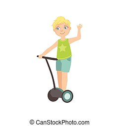 Boy Riding Segway Waving Simple Design Illustration In Cute...