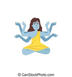 Blue Skinned Kali Goddess With Many Arms Country Cultural...