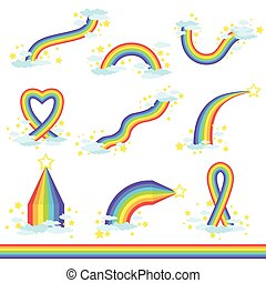 Rainbows Of Different Fantastic Shape Set Of Icons