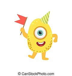 Jelly Bean Friendly Monster With Flag
