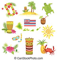 Hawaii Beach Vacation Related Set Of Objects Isolated Flat...