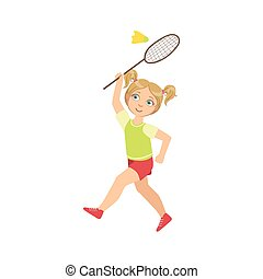 Girl Playing Badminton With Shuttlecock And Racket Simple...