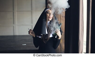 bad nun drinks alcohol and smokes - drunken nun smoking a...
