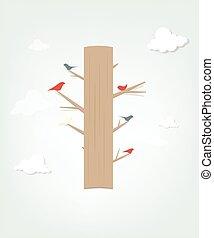 Bird on tree. flat vector poster