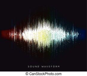 Soundwave waveform vector illustration on black background